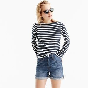 J.Crew High Rise Denim Shorts Cuffed Raw Hem